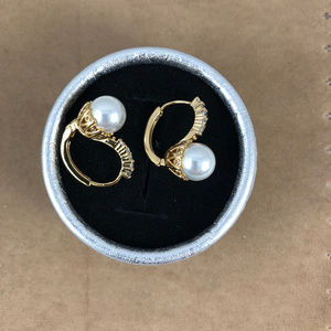 Gem Empourium Jewelry - 14K Yellow Gold Plated Pearls & Crystals Hoops